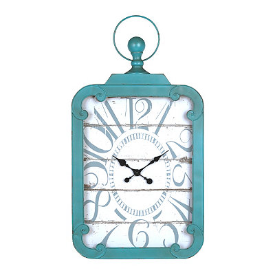Margie Distressed Turquoise Wall Clock
