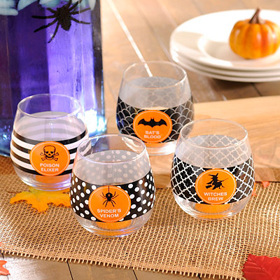Halloween Stemless Wine Glasses, Set of 4