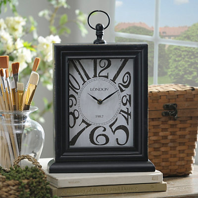 Distressed Black Wooden Tabletop Clock