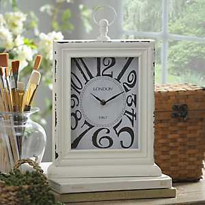Distressed Cream Wooden Tabletop Clock