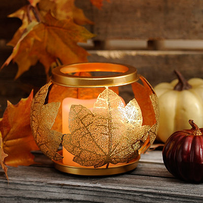 Gold Leaf LED Candle Holder