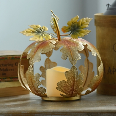 Gold Leaf Pumpkin LED Candle Holder