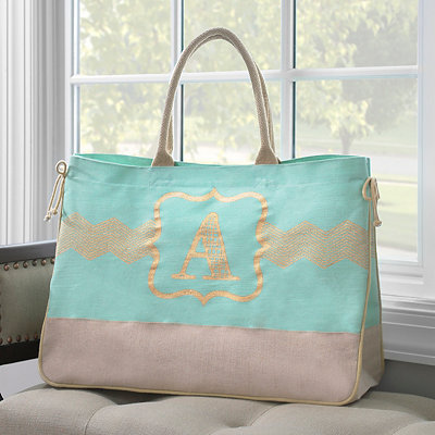 Metallic Monogram Tote Bag