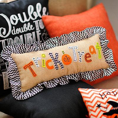 Trick or Treat Burlap Pillow