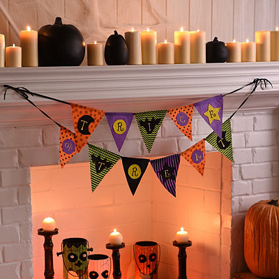 Geometric Trick or Treat Pennant Banner