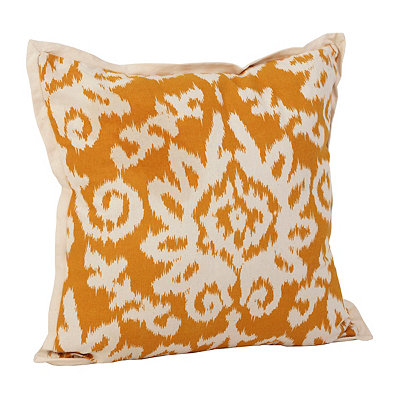 Yellow Ikat Damask Flange Pillow