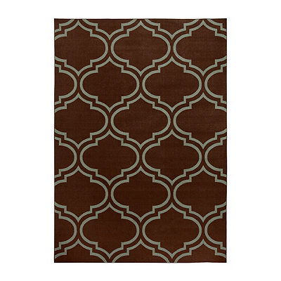 Jackson Blue and Brown Quatrefoil Area Rug, 7x9