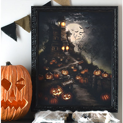 Beware the Haunted House LED Canvas Art Print