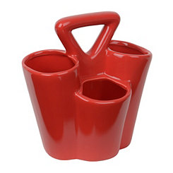 Red Ceramic Utensil Caddy