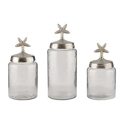 Clear Cagliari Starfish Canisters, Set of 3