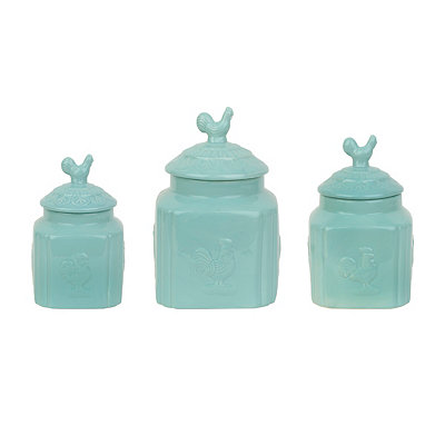 Aqua Turino Rooster Canisters, Set of 3