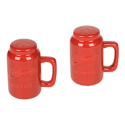 Red Mason Jar Salt & Pepper Shakers