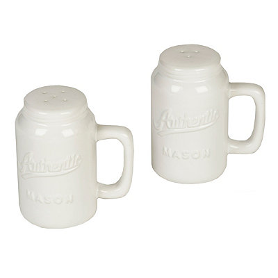 White Mason Jar Salt & Pepper Shakers