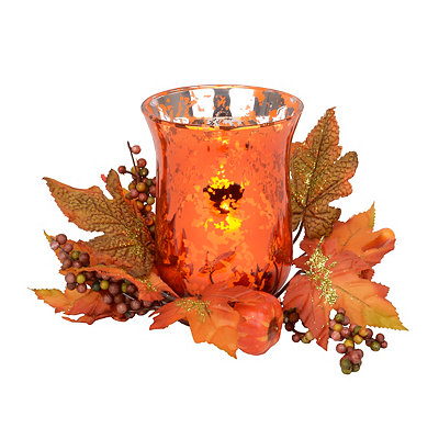 Fall Floral Orange Mercury Glass Candle Holder