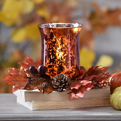 Fall Floral Bronze Mercury Glass Candle Holder
