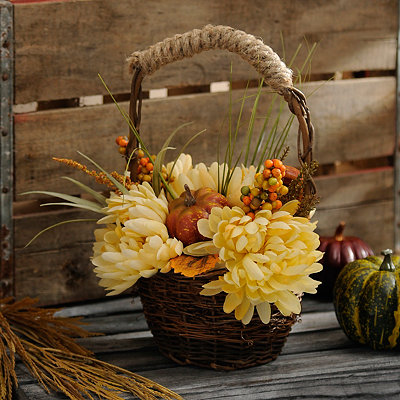 Cream Fall Floral Basket Arrangement