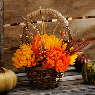 Orange Fall Floral Basket Arrangement