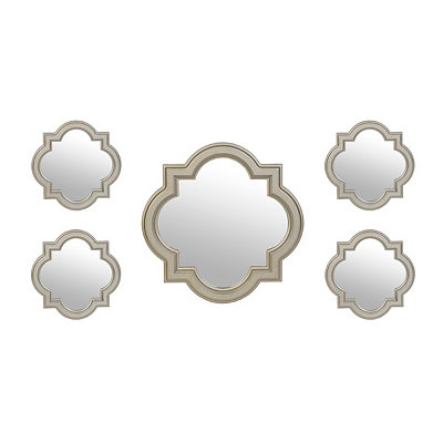 Pewter Quatrefoil Mirrors, Set of 5