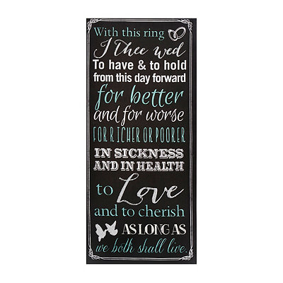 Wedding Vows Chalk Art Canvas Plaque
