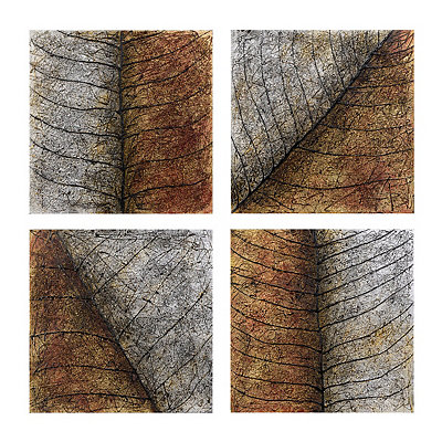 Metallic Leaf Patterns Canvas Art Prints, Set of 4