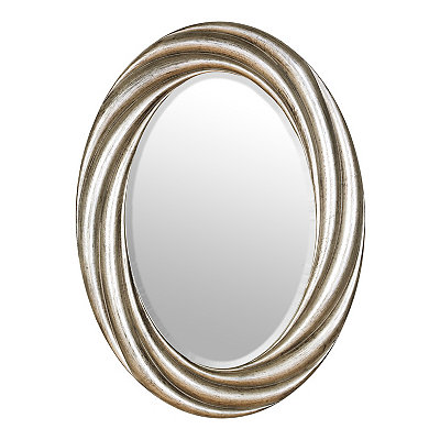 Antique Silver Vortex Oval Mirror, 22x30