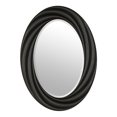 Satin Black Vortex Oval Mirror, 22x30