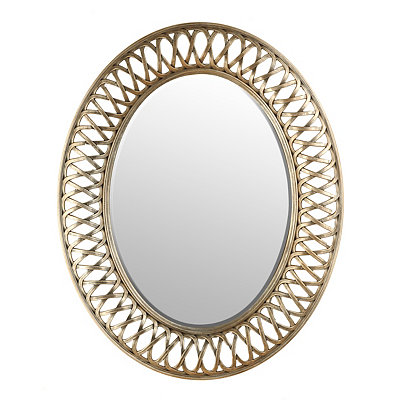 Burnished Silver Woven Oval Mirror, 24x30
