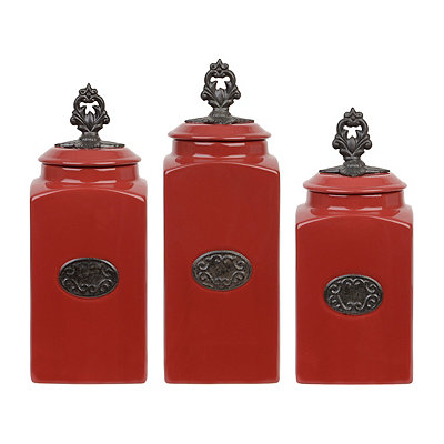 Red Medallion Canisters, Set of 3