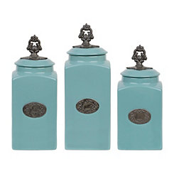 Turquoise Medallion Canisters, Set of 3