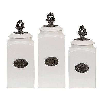 White Medallion Canisters, Set of 3