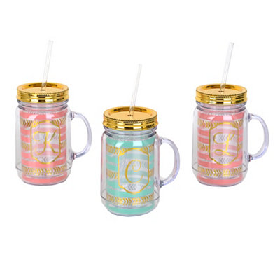 Coral and Turquoise Gold Monogram Tumblers