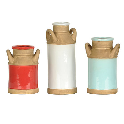 Colored Ceramic Jug Vases, Set of 3