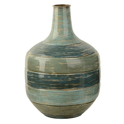 Blue Tones Striped Metal Vase, 13 in.