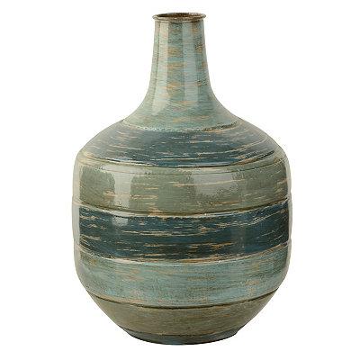 Blue Tones Striped Metal Vase, 13 in.