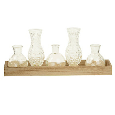 Clear Glass Bottles in Pine Wood Tray, Set of 6