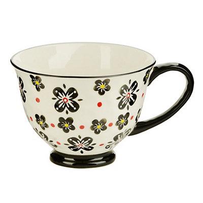 Black Floral Teacup Mug
