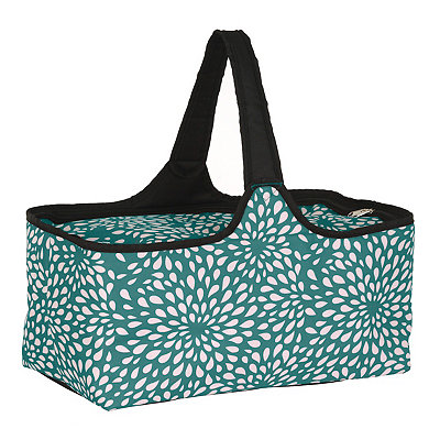 Turquoise and White Petals Picnic Tote
