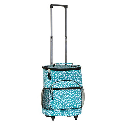 Turquoise and White Petals Rolling Cooler