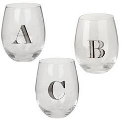 Monogram Stemless Wine Glasses, Set of 2