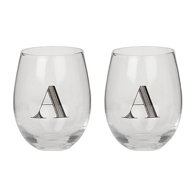 Monogram A Stemless Wine Glasses, Set of 2