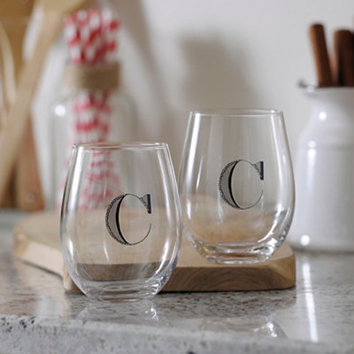 Monogram C Stemless Wine Glasses, Set of 2