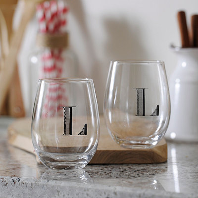 Monogram L Stemless Wine Glasses, Set of 2
