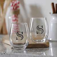 Set of 2 Monogram S Stemless Wine Glasses