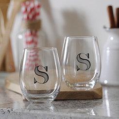 Monogram S Stemless Wine Glasses, Set of 2
