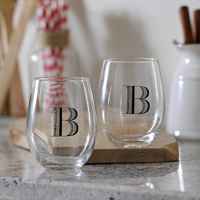 Monogram B Stemless Wine Glasses, Set of 2