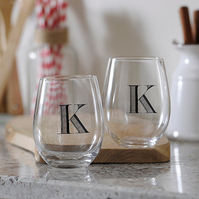 Monogram K Stemless Wine Glasses, Set of 2