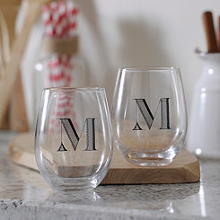 Monogram M Stemless Wine Glasses, Set of 2