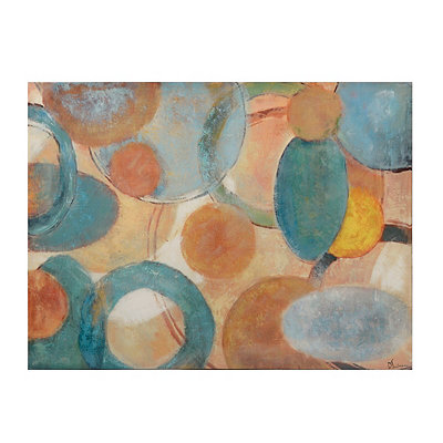 Tan and Turquoise Roundabout Canvas Art Print