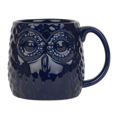 Cobalt Blue Embossed Ceramic Owl Mug