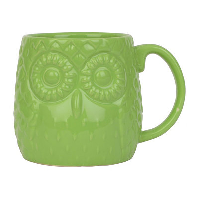 Lime Green Embossed Ceramic Owl Mug